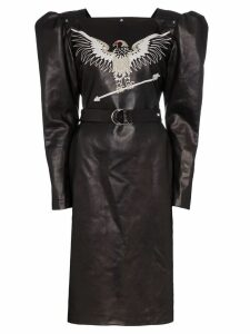 Montana embroidered leather dress - Black