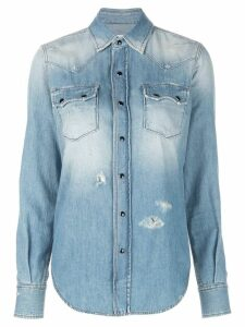 Saint Laurent distressed Western-style shirt - Blue