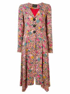Etro floral print long coat - Pink