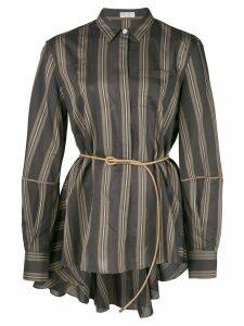 Brunello Cucinelli belt detail striped shirt - Black
