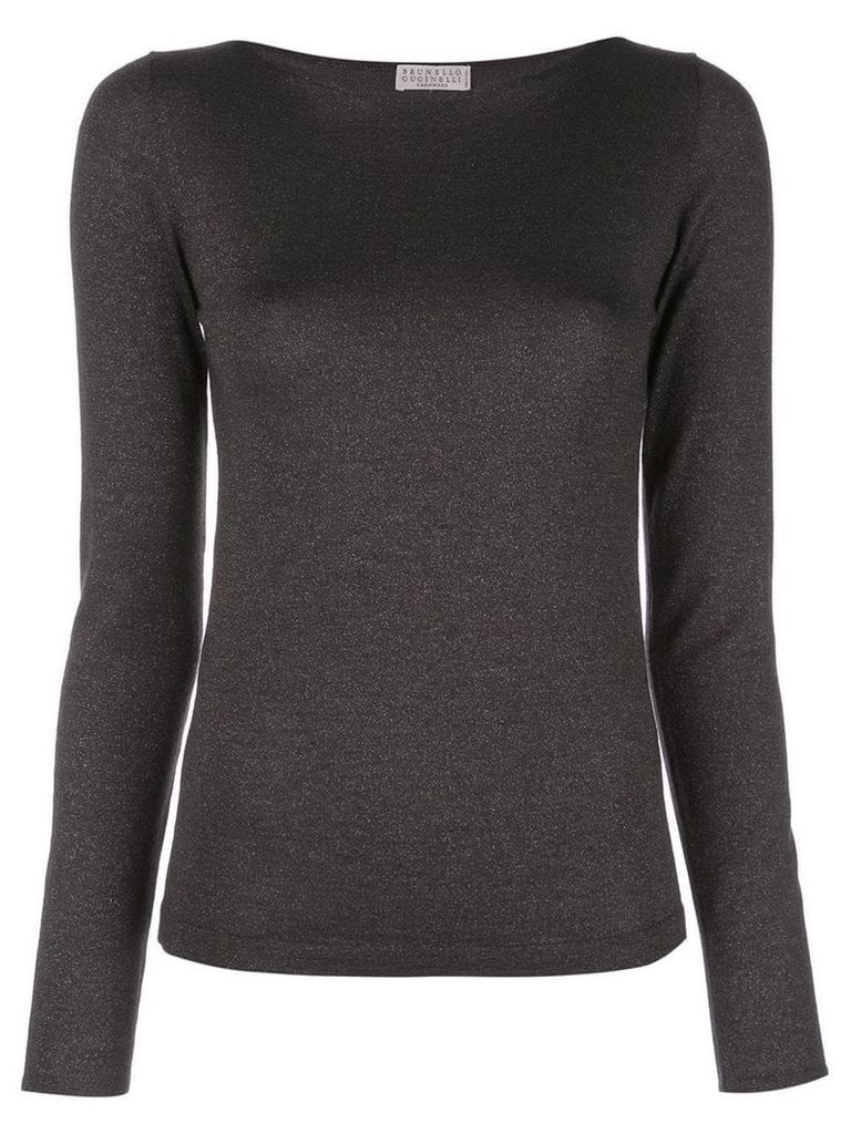 Brunello Cucinelli metallic knitted top - Grey