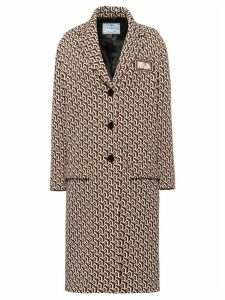 Prada twist motif jacquard coat - Brown
