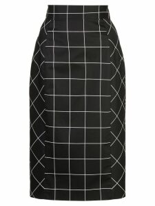 Milly grid print pencil skirt - Black