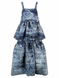 Proenza Schouler Acid Wash Denim Tiered Dress - Dark Acid