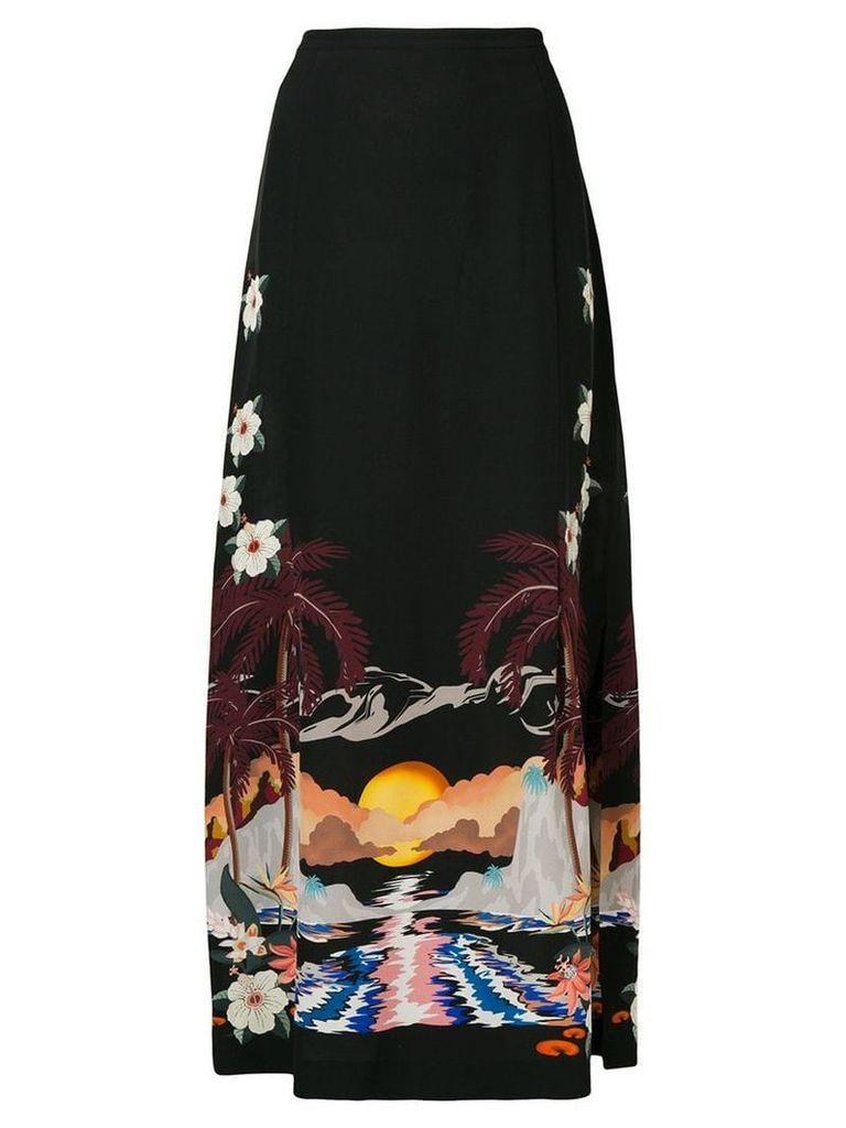 Etro sunset print maxi skirt - Black