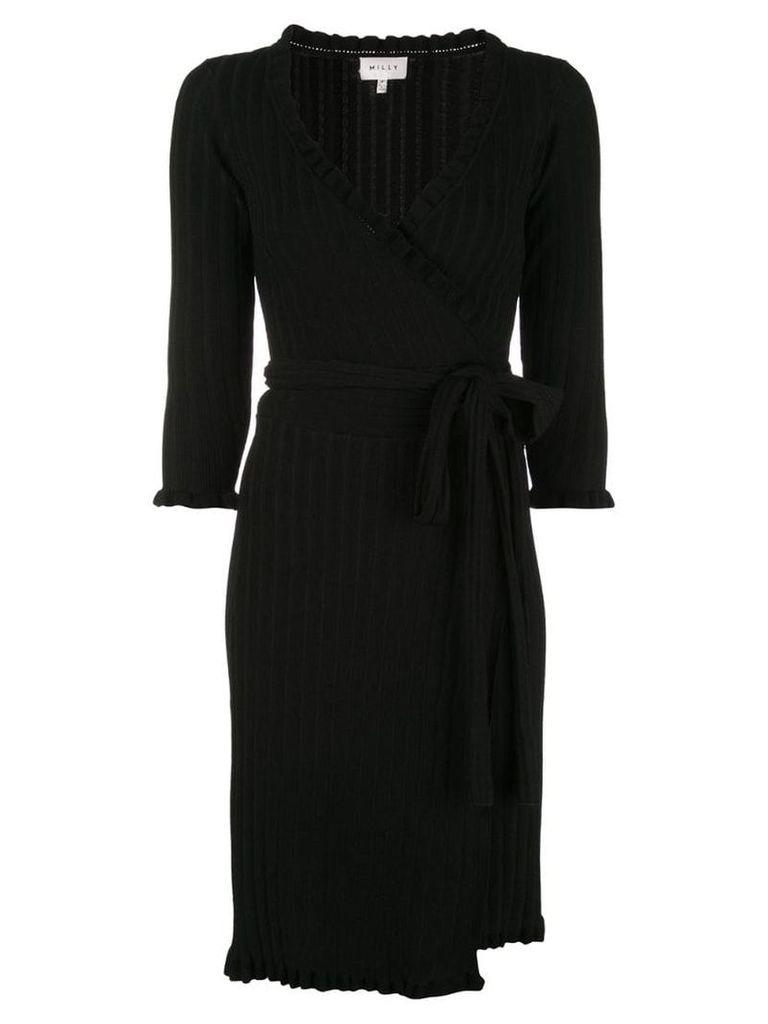Milly ribbed knit short wrap dress - Black