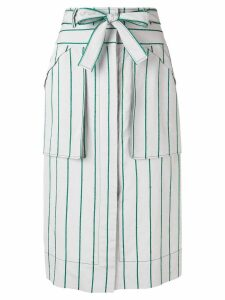 Cédric Charlier striped midi skirt - Grey