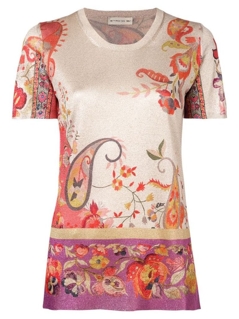 Etro paisley print lurex knit top - Neutrals