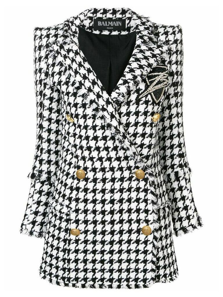 Balmain double breasted tweed coat - Black