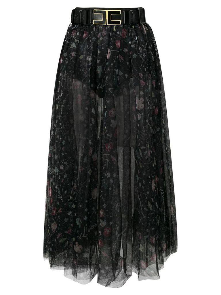Elisabetta Franchi floral print tulle skirt - Black