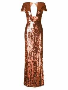 Elisabetta Franchi sequin embroidered evening dress - Orange