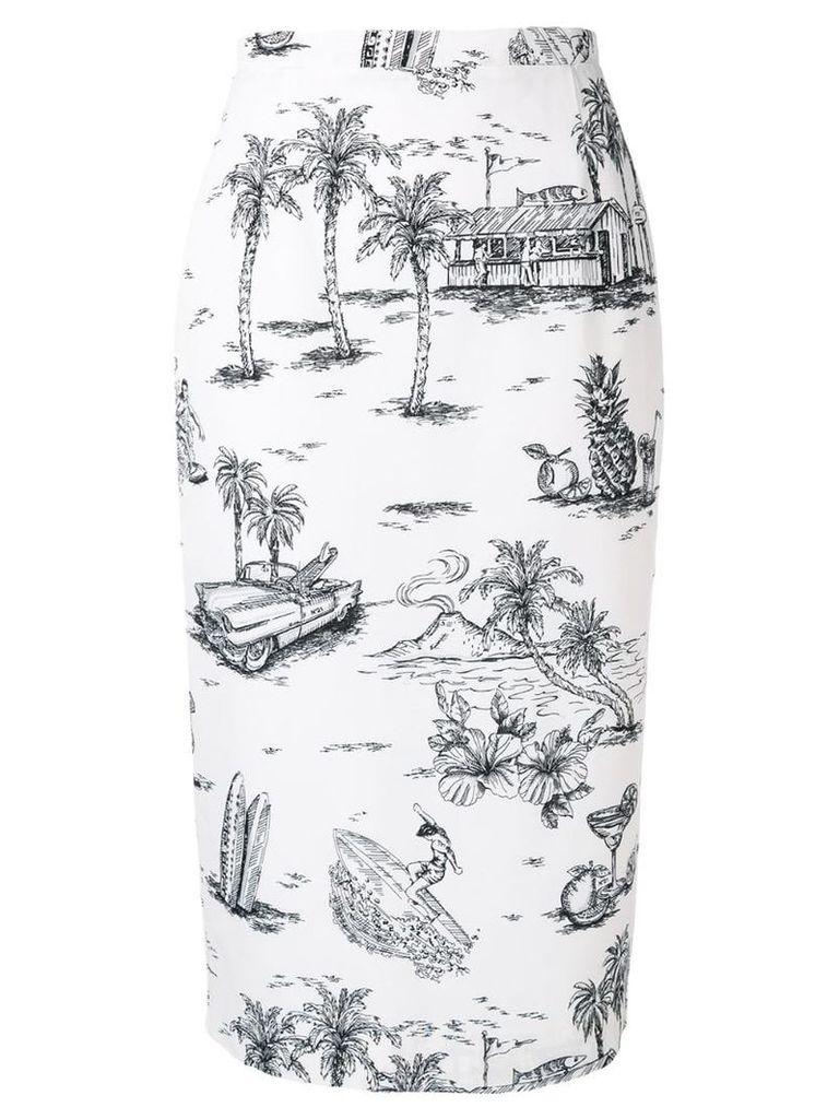 Nº21 printed pencil skirt - White