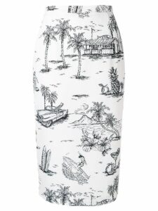 Nº21 printed pencil skirt - White