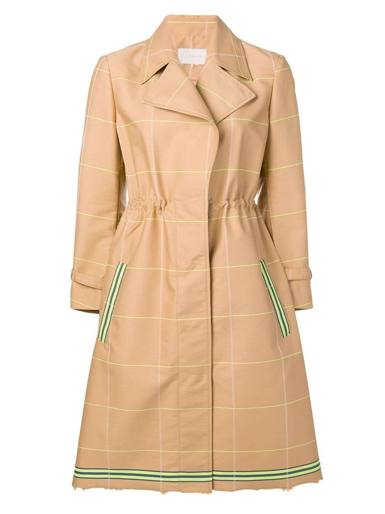 L'Autre Chose check trench coat - Neutrals