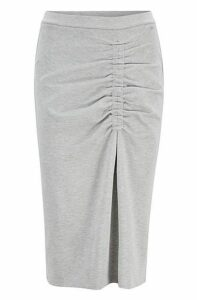 Jersey pencil skirt with asymmetric gathering