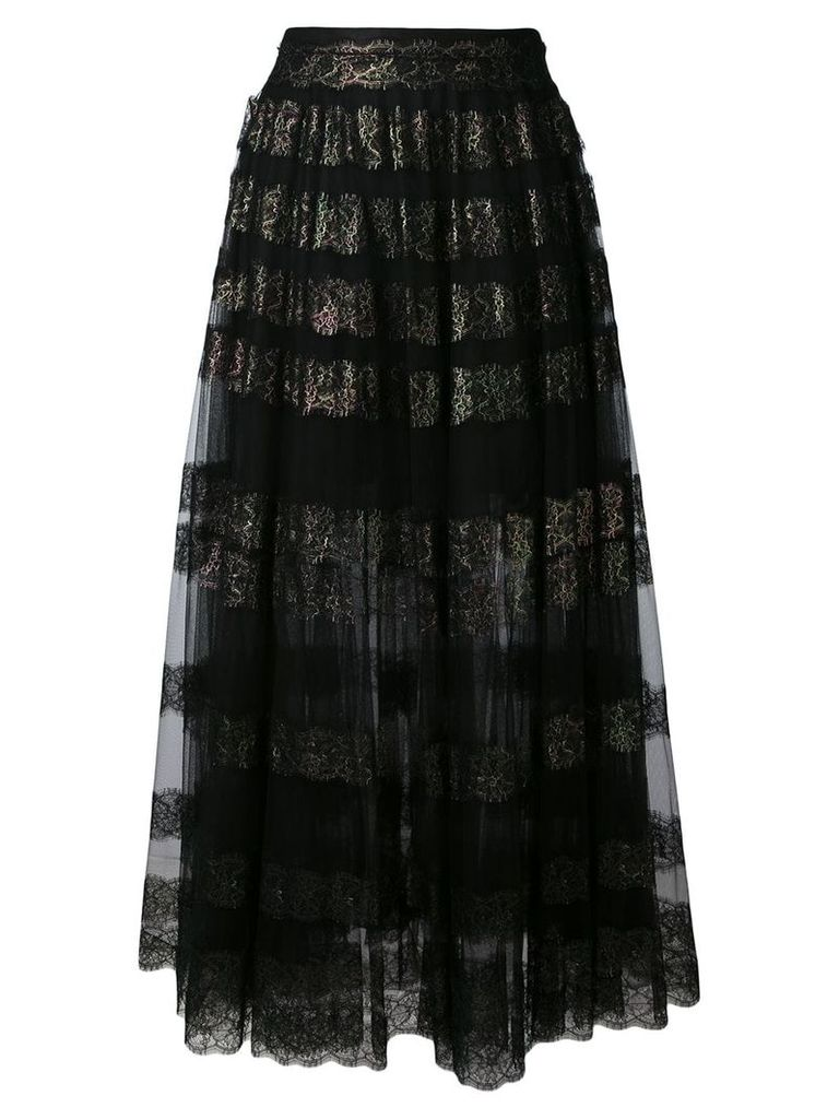 Christopher Kane long lace foil and tulle skirt - Black