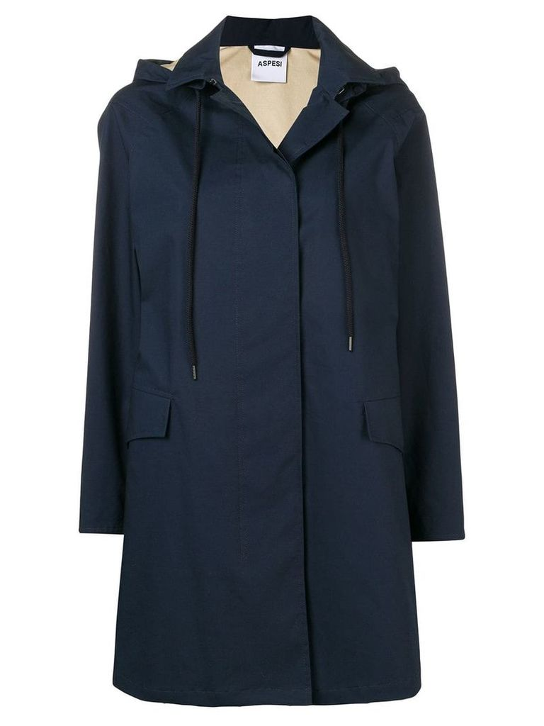 Aspesi classic hooded coat - Blue