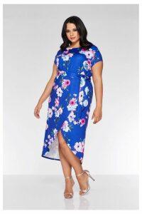 Womens Quiz Curve Floral Midi Dress -  Blue