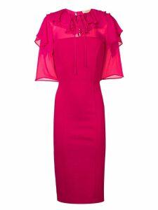 Twin-Set ruffle trim pencil dress - Pink