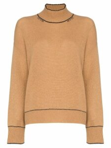 Marni distressed cashmere roll neck jumper - Neutrals