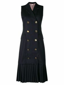 Thom Browne Pleated Wool Chesterfield Dress - Blue