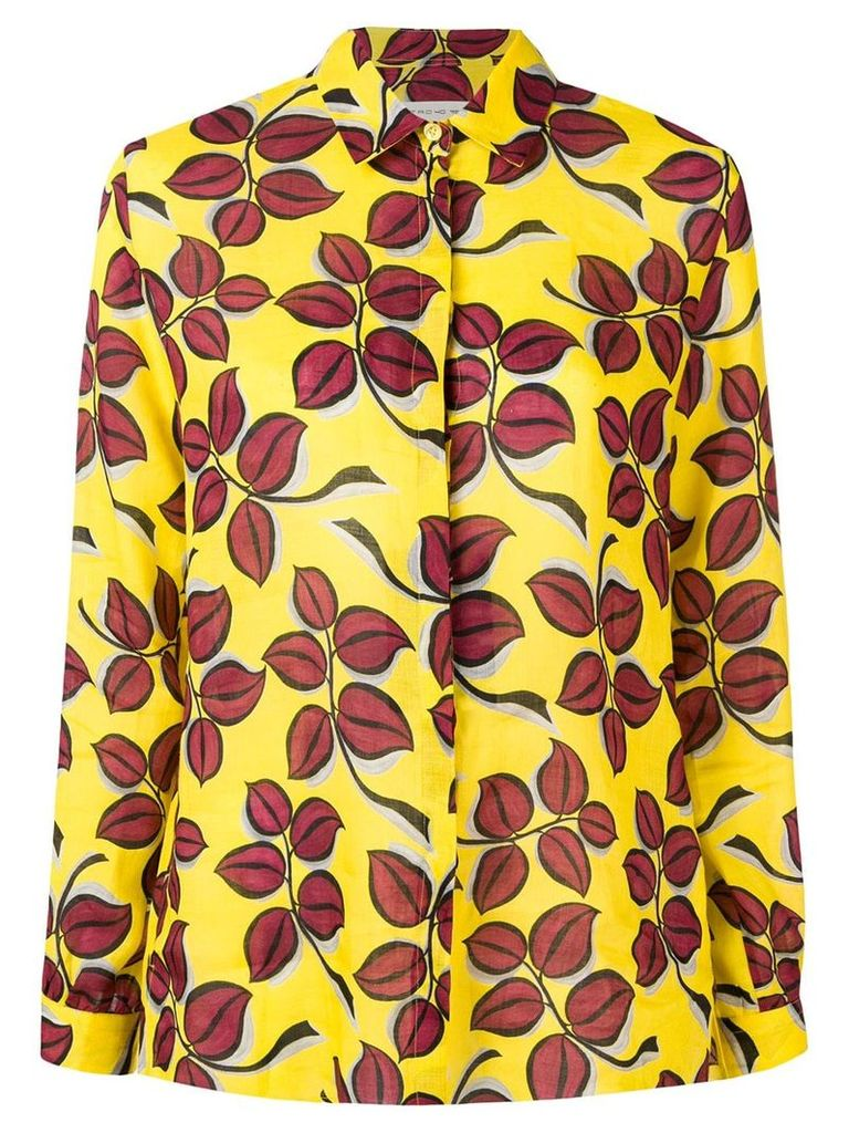 Etro leaf print shirt - Yellow