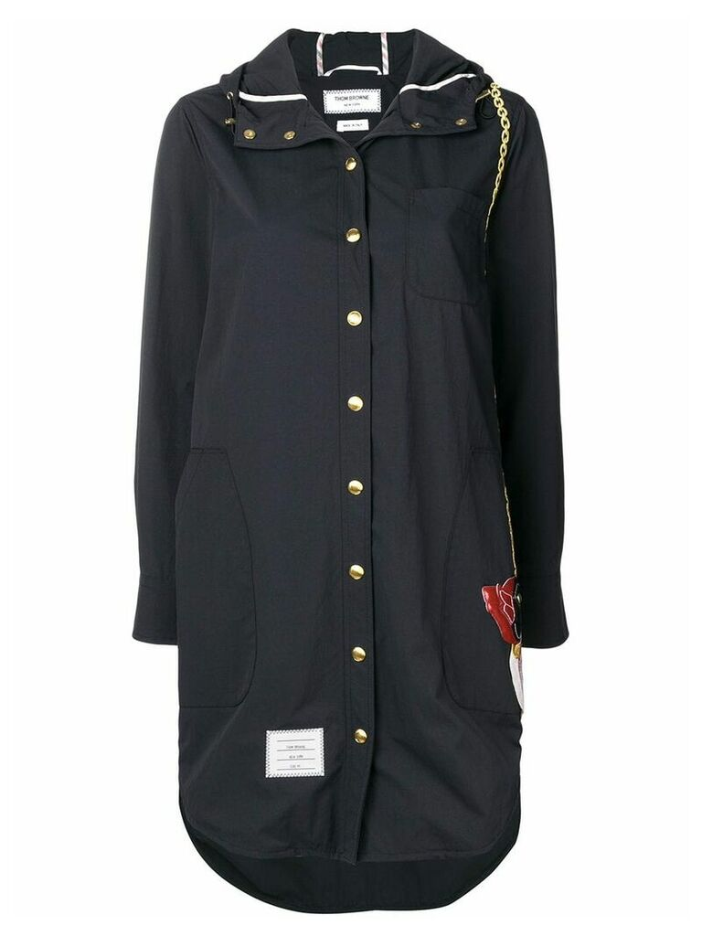 Thom Browne Duck Bag Patch Hooded Shirtdress - Blue