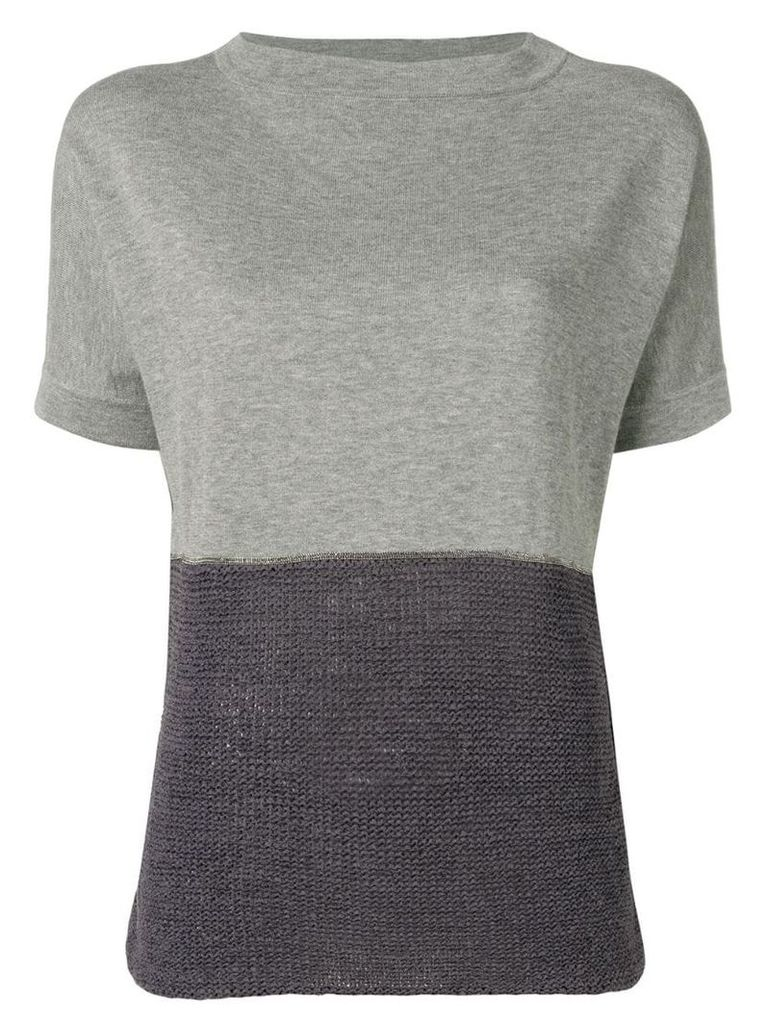 Fabiana Filippi contrast panels knitted top - Grey