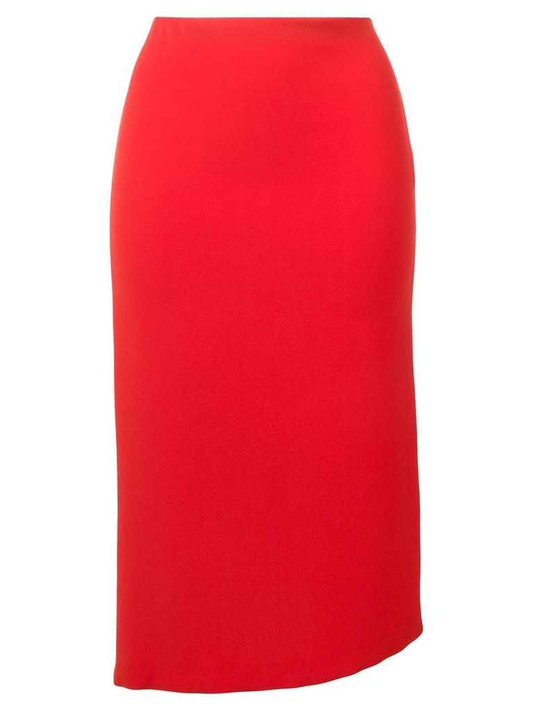 Poiret asymmetric hem midi skirt - Red