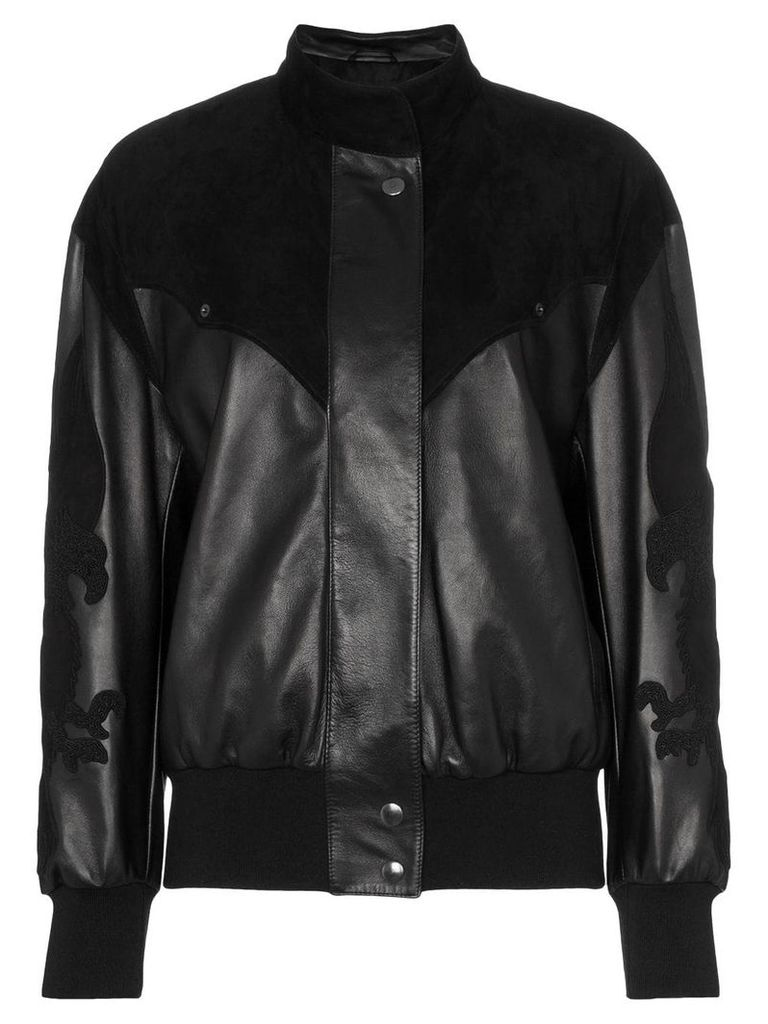 Montana embroidered panelled leather bomber jacket - Black