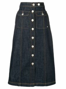 Maison Kitsuné denim midi skirt - Blue
