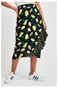 Womens Next Black Floral Mixed Print Wrap Skirt -  Black