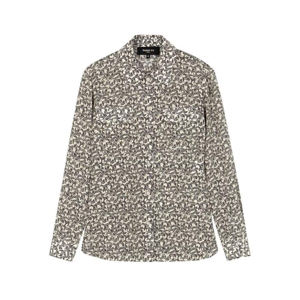 Paule Ka Zebra-print Silk Shirt
