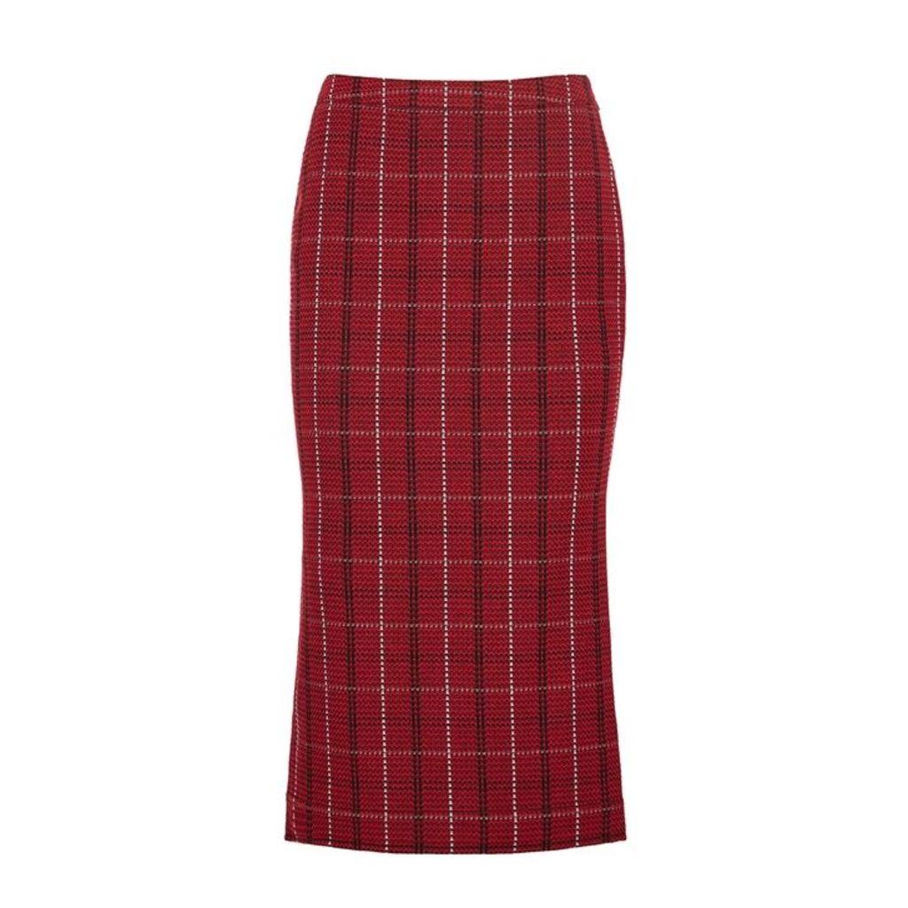 McQ Alexander McQueen Checked Tweed Pencil Skirt