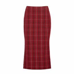 McQ Alexander McQueen Checked Tweed Pencil Skirt