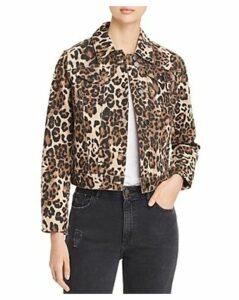 Bagatelle Leopard Print Denim Jacket