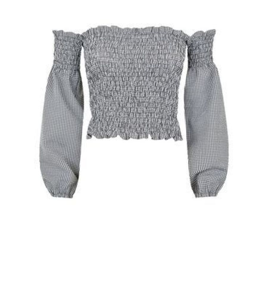 Black Gingham Shirred Bardot Top New Look