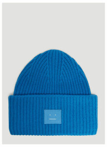 Acne Studios Pansy N Face Knit Hat in Blue size One Size