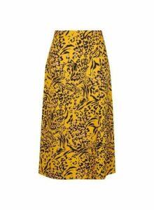 Womens Yellow Zebra Print Midi Skirt- Yellow, Yellow
