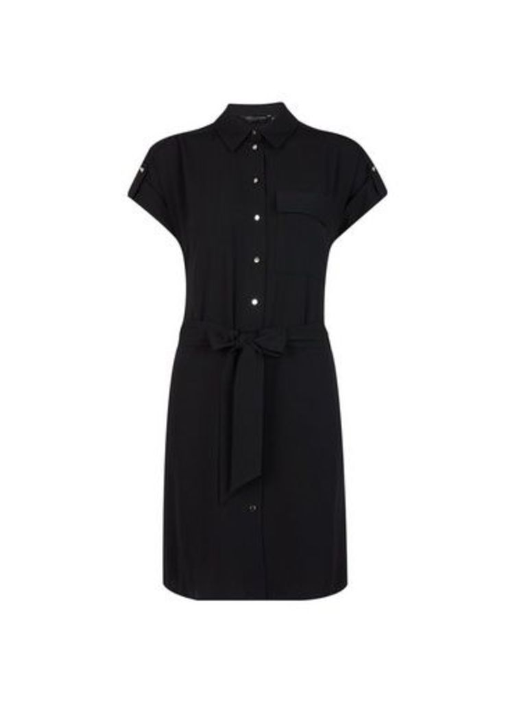 Womens Black Short Sleeve Shirt Dress- Black, Black