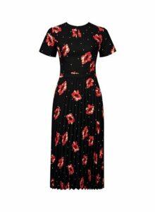 Womens Black And Red Poppy Print Midi Skater Dress- Black, Black