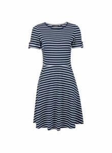 Womens Navy Stripe Print Short Sleeve T-Shirt Dress- Blue, Blue