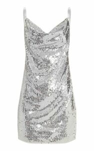 Silver Sequin Chain Side Detail Bodycon Dress, Grey