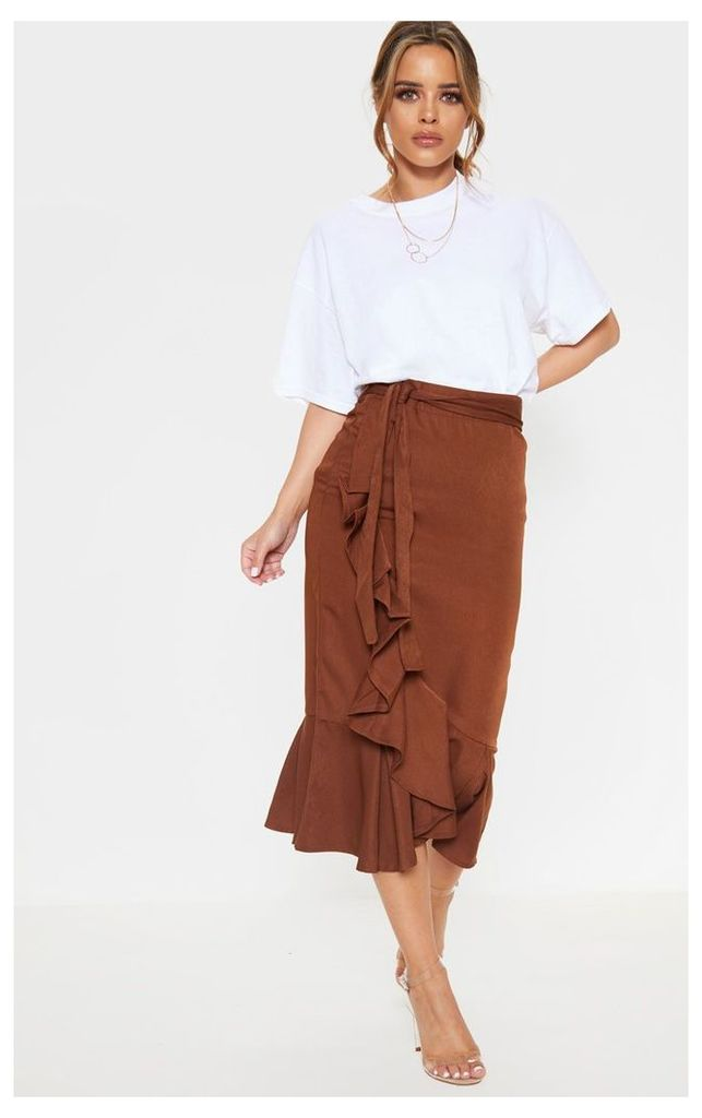 Petite Chocolate Brown Woven Frill Detail Midi Skirt, Chocolate Brown