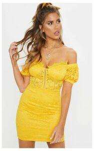 Yellow Lace Bardot Puff Sleeve Bodycon Dress, Yellow