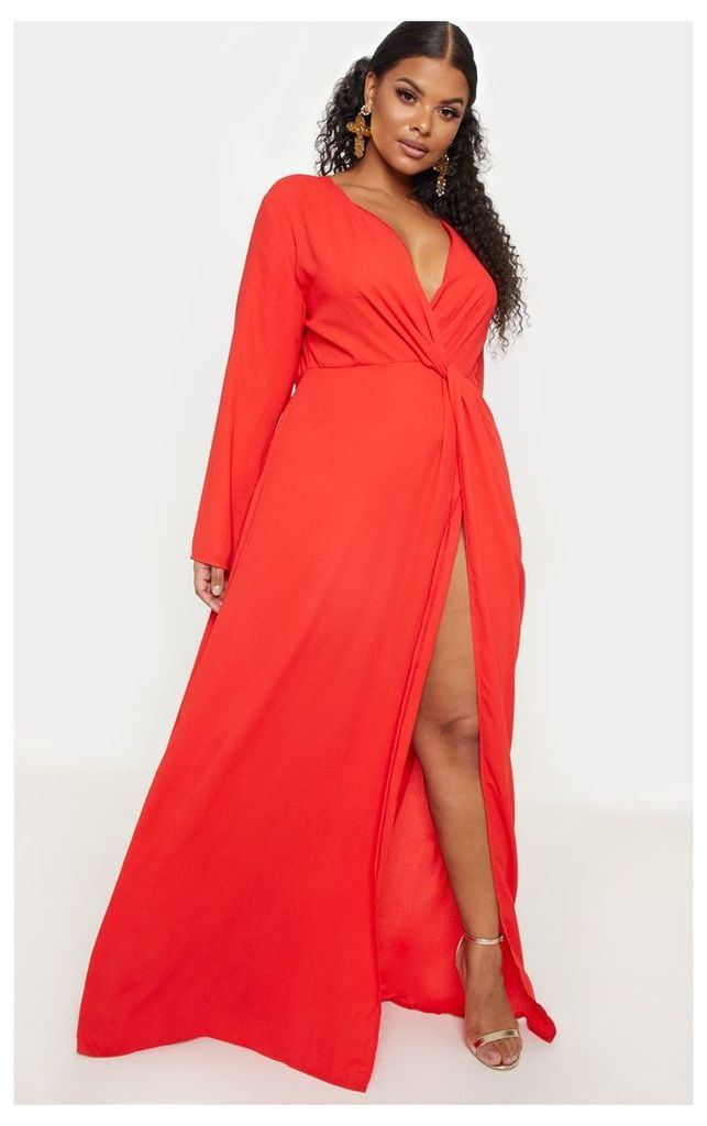 Plus Red Twist Front Maxi Dress, Red