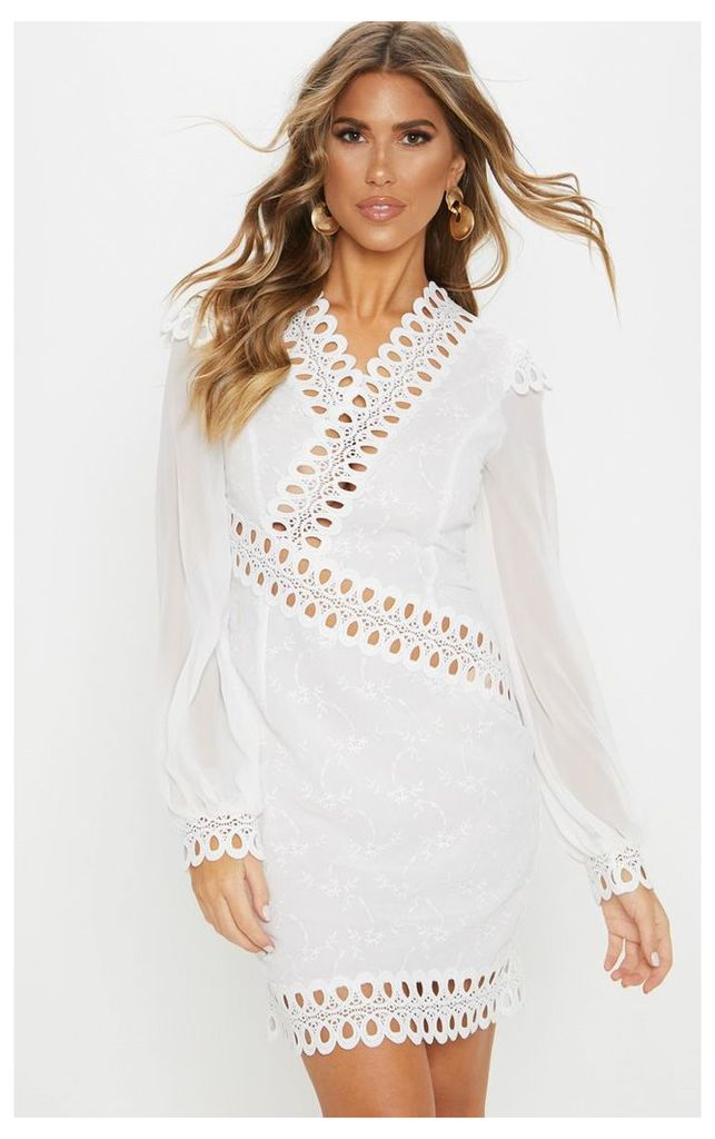 White Broderie Anglaise Long Sleeve Lace Trim Shift Dress, White