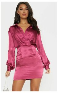 Berry Pleated Satin Shirt Style Bodycon Dress, Pink