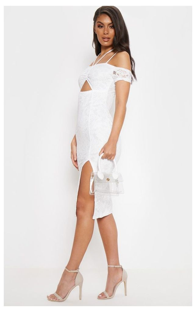 White Lace Ruched Cut Out Midi Dress, White