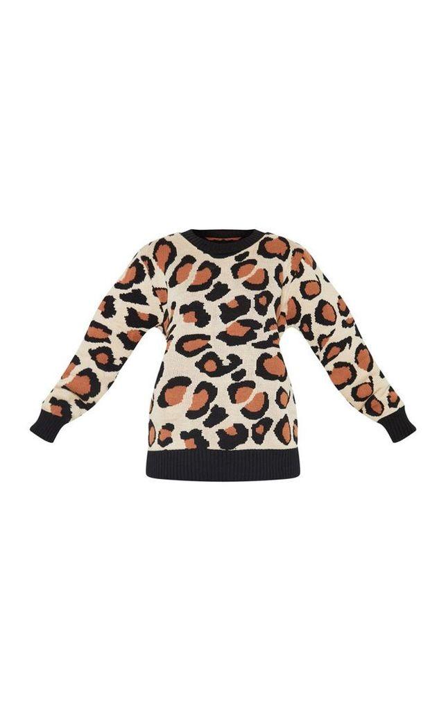 Petite Brown Leopard Print Jumper, Brown